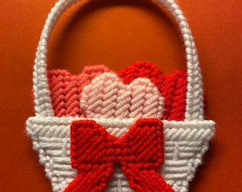 Plastic Canvas Valentines Basket of Hearts magnet