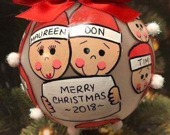 GRANDPARENT, GRANDMA , GRANDPA Personalized Handpainted Christmas Ornament