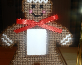 Gingerbread Photo Christmas Ornament - Hand stitched on Plastic Canvas