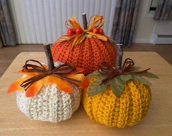 Stuffed Pumpkin Trio - Crocheted