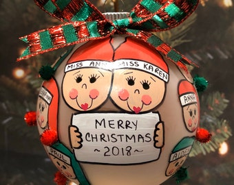 Teacher and Class Personalized Handpainted Christmas Ornament
