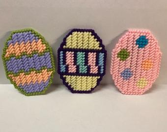 Plastic Canvas Easter Egg Trio Magnet Set