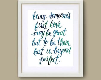 Handlettered LAST LOVE Art Print by Sue Allemand, Abstract Art, Inspirational Spiritual, Quote, wedding, engagement, second marriage