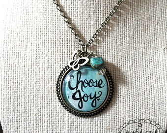 CHOOSE JOY Art Charm Pendant Necklace, Inspirational Spiritual Jewelry, Hand Lettering Yoga Inspired, Bronze Charm, Mantra Statement Pendant