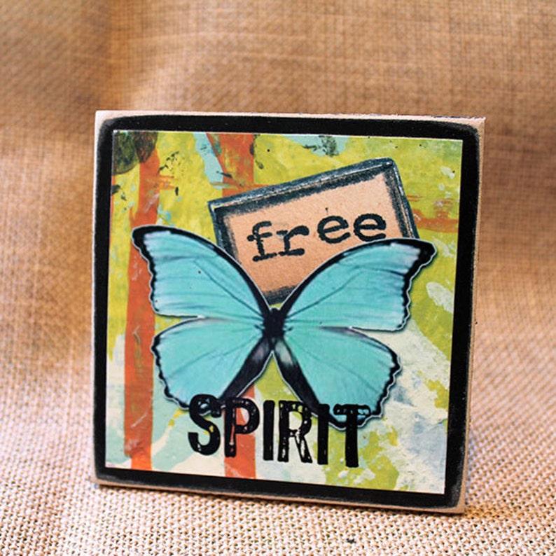 FREE SPIRIT Wood Mounted Art Print Mixed Media Inspirational image 0