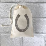 Horseshoe Favor Bag | Horse Party Bag Western Baby Shower Cowboy Birthday Bachelorette Muslin Bag Wedding Welcome Goodie Candy Soap Jewelry