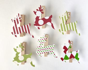 Reindeer Clothespins Christmas Decoration Paper Cutouts Kit Gift Wrapping Clips Pins Holiday Games
