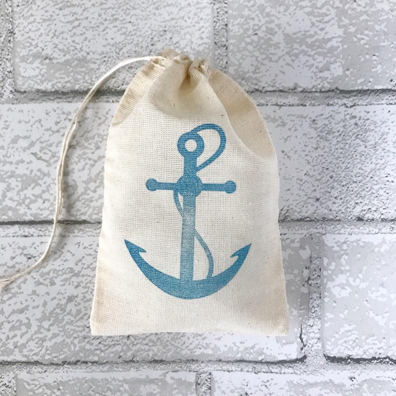 Anchor Favor Bags Nautical Party Bag Beach Destination Wedding image 0
