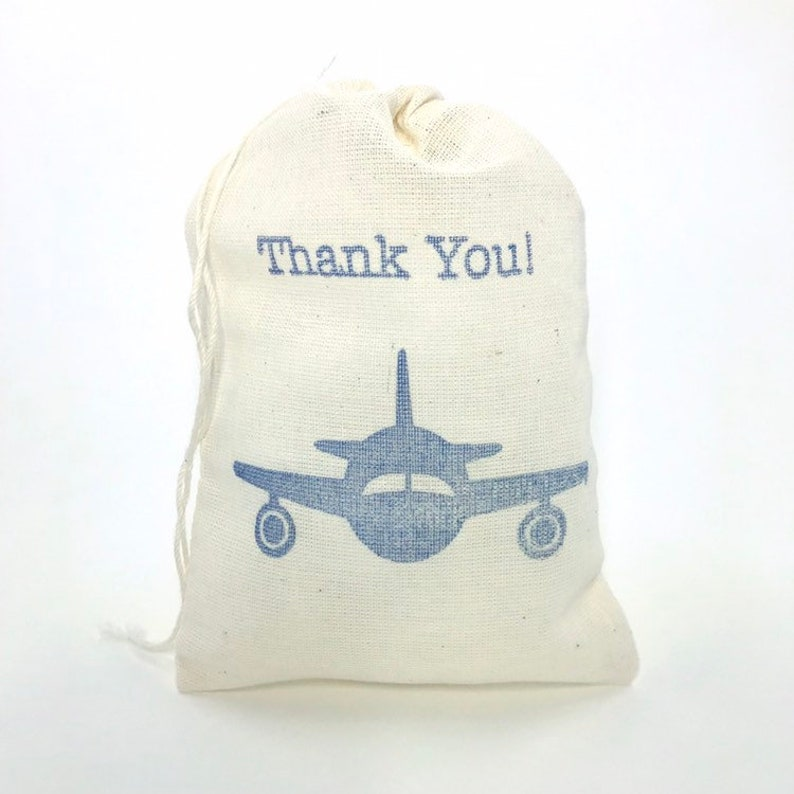 Airplane Thank You Favor Bags Aviation Baby Shower Pilot Navy