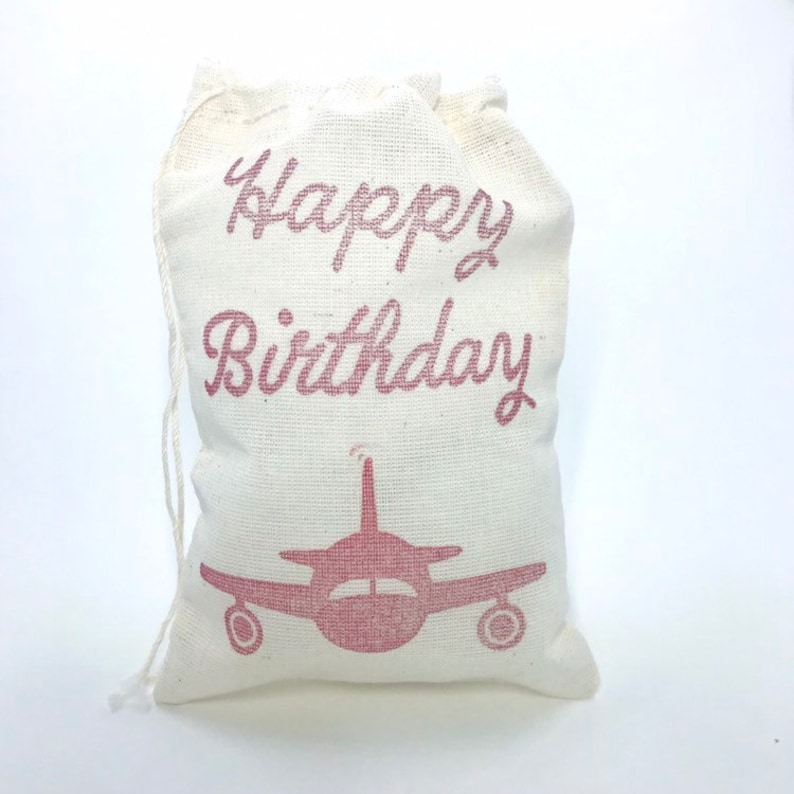 Airplane Happy Birthday Favor Bags Aviation Baby Shower Pilot Red