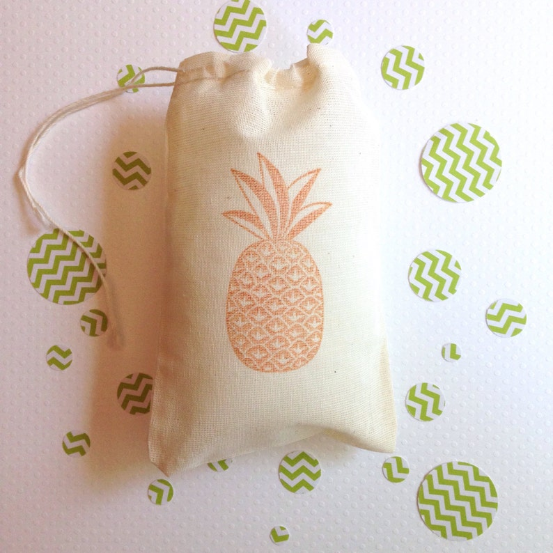 Pineapple Favor Bags Hawaiian Party Bags Nautical Tropical image 0