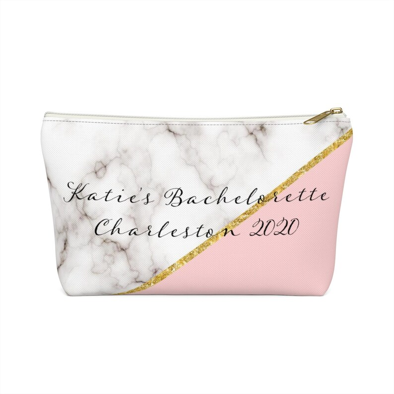 Custom Bachelorette Party Accessory Marble Pouch Bag image 0