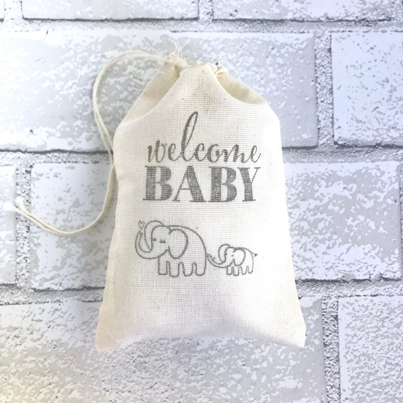 Elephant Favor Bags Welcome Baby Party Bags Shower Gift Bag image 0