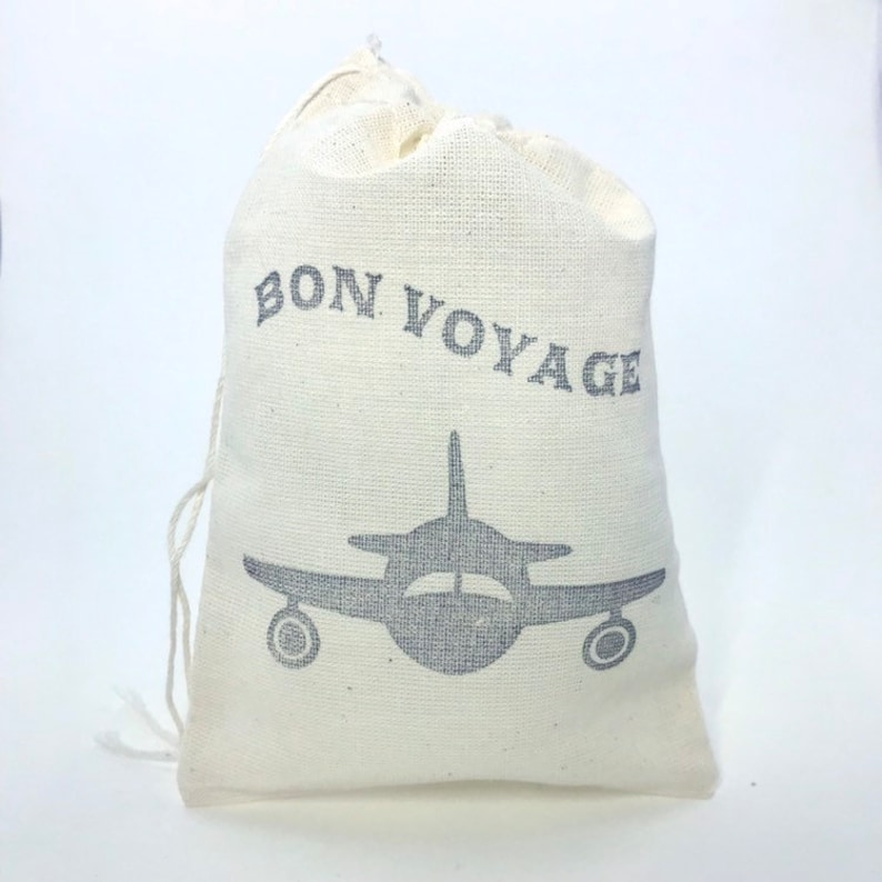 Airplane Bon Voyage Favor Bags Aviation Wedding Welcome Party Black