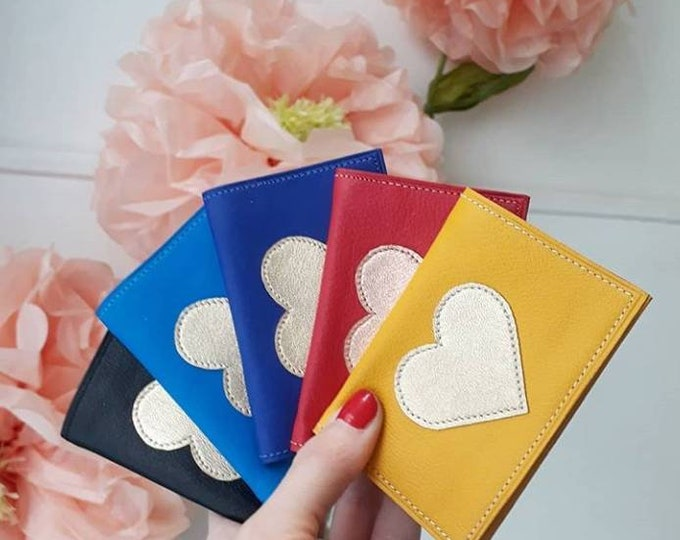 """Featured listing image: Leather wallet """"hard blue"""" adorned with a Japanese fabric lining stitched gold heart pattern"""