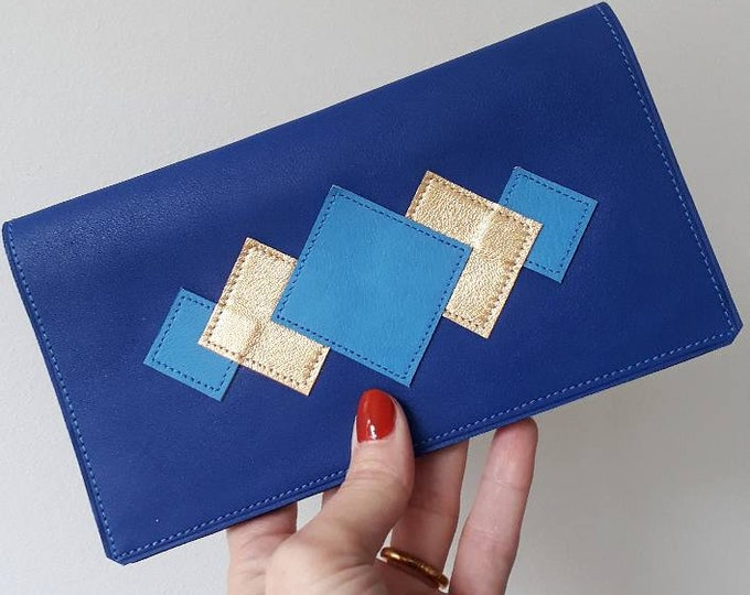 Featured listing image: Checkbook cover leather stitched pattern Lavender cobalt blue & gold fabric lined Japanese