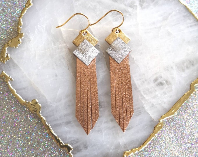 Featured listing image: leather earring gold-filled