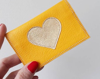 "Leather wallet ""Cerulean"" decorated with a Japanese fabric lining stitched gold heart pattern"