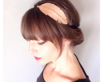 "head band ""Feather"" rose gold metallic leather mounted on elastic"