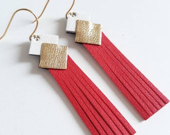 "Leather Earring ""mini fringe"" red-white-gold plated clip gold jewelry woman made manually customizable"