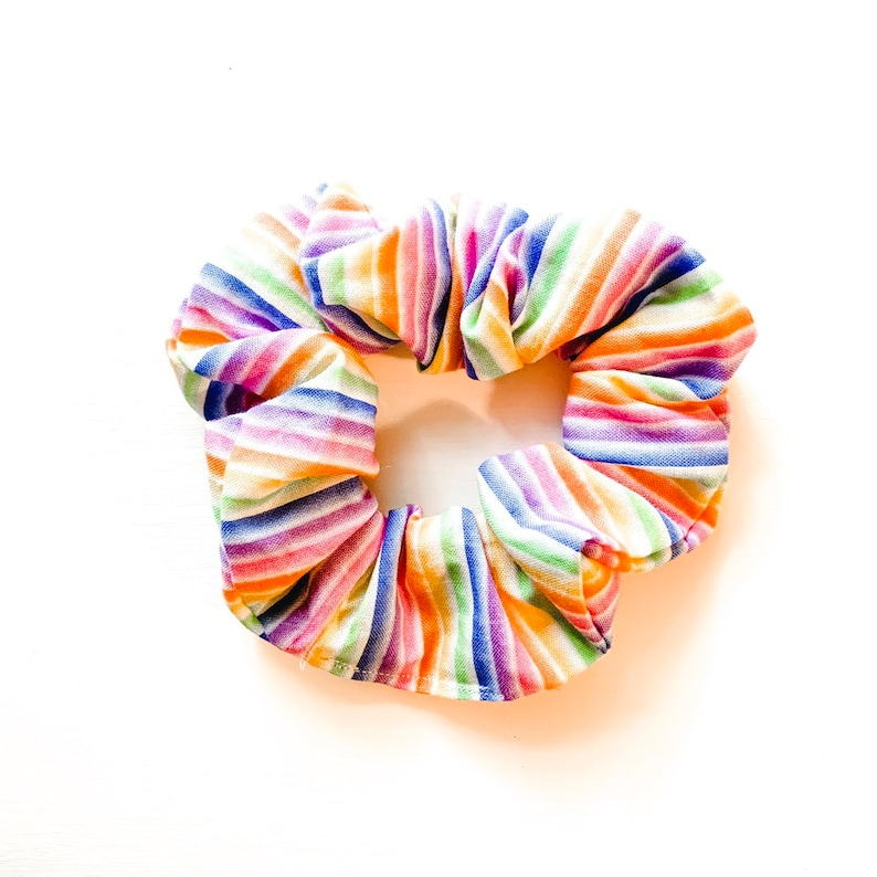 Pride Rainbow Text Scrunchie available in multiple colors