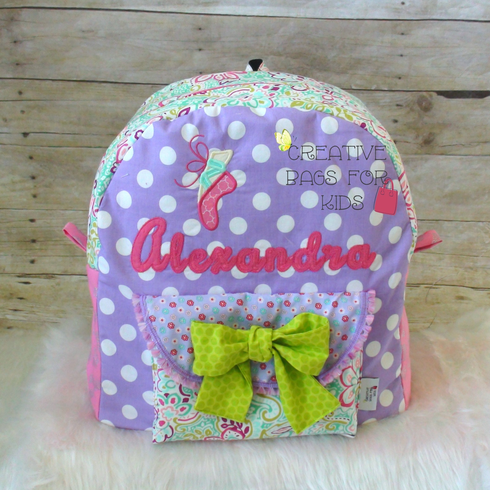 dance backpack, ballet backpack/ children backpack, toddler backpack, personalized backpack/ kindergarten backpack/ ballet shoe