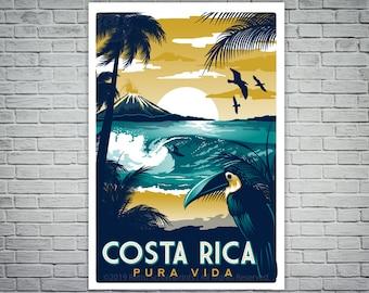 Costa Rica Screen print Retro Vintage Travel Poster