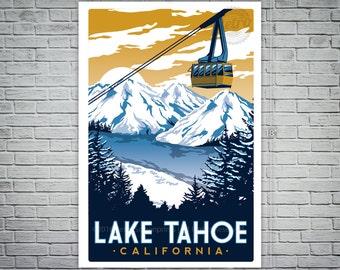 Lake Tahoe Screen print Vintage Travel Poster
