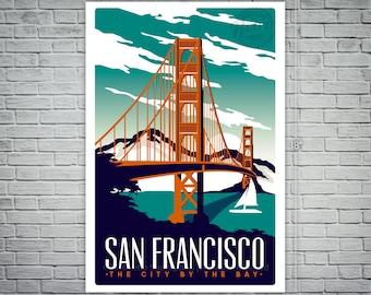 San Francisco Screen Print Travel Poster Vintage Golden Gate Bridge