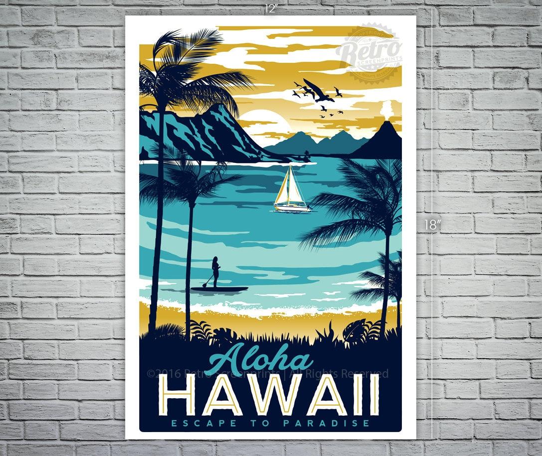 Salle De Bain Bicarbonate Vinaigre ~ Hawaii Voyage Vintage R Tro Affiche Surf Palmiers Etsy