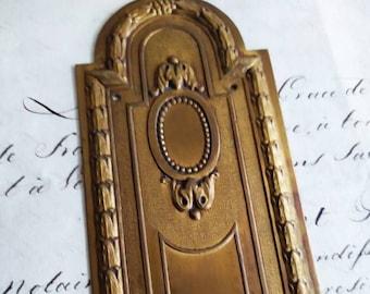 Antique  French Finger Plate Regency Empire Plaque Door Push, Finger Plate,Door Hardware, Home Renovation,Architectural details