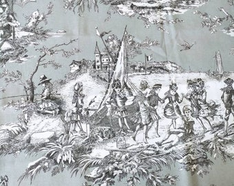 Stunning piece of New French Toile de Jouy Rose  Fabric   Thévenon  Paris << Histoire d'eau >> - Sewing Project /  French / Cushions