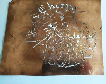Rare French Vintage Copper Icing Sugar Stencil Cherry Liqeur ,Cake Decorating / Craft Stenciling France, Gift Idea for Bakers. Bar Deco