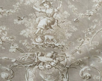 Taupe and Cream Toile de Jouy Fabric Panel Shabby Chic, Made in France. French Country, Romantic French, Sewing and Upholstery Project No.4
