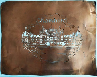 Rare French Vintage Copper Icing Sugar Stencil Chateau Chambord ,Cake Decorating / Craft Stenciling France, Gift Idea for Bakers