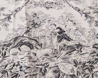 Stunning Vintage French  Black & Cream Toile de Jouy Fabric   Sewing Project / Country French Home / Cushions 210 cms W