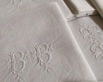Set of 6 Elegant Chic  Extra Larg French Antique Damask Linen Napkins Monogram 'BB'  Rose   Print. Ex  Chateau, French linen, set the table