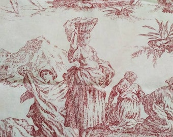 Pair of Stunning Raspberry &  Cream Toile de Jouy Curtains,  Made in France. French Country Chic 2.35 yards L, Romantic French Decor