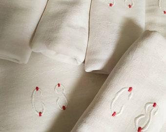 Set of 6 Elegant Chic  Large French Antique Damask Linen Napkins Monogram 'CP'  red flower leaf design Chateau Chic, French linen