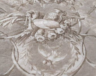 Taupe and Cream Toile de Jouy Fabric Panel Shabby Chic, Made in France. French Country, Romantic French, Sewing and Upholstery Project No.2