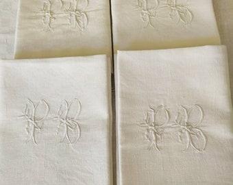 Set of 4 French Large White Linen Table Napkins, Large PB Monogram, Vintage  French Linen, Large White Dinner Napkins