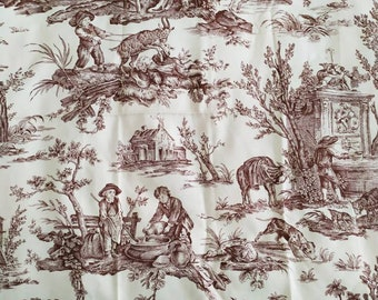 Pierre Frey Paris  Coutances Satin Brown and Cream Toile de Jouy Material, Chateau Chic, French Country decor