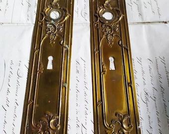 Ex Chateau Pair of Antique  French Louis XV Finger Plate  Empire Plaque Door Push, Finger Plates,Door Hardware, Architectural details No.3