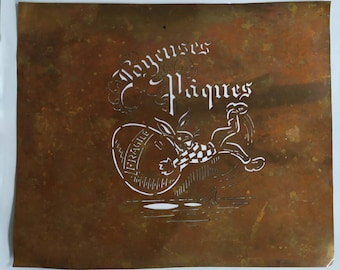 Rare French Vintage Copper Icing Sugar Stencil Joyeuses Paques,Happy Easter Cake Decorating / Craft Stenciling France, Gift Idea for Bakers