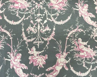 Stunning New Never Used Gray and Pink Toile de Jouy Fabric,  Modern French Boudoir Chic, Made in France. French Country Chic 2.6 yards