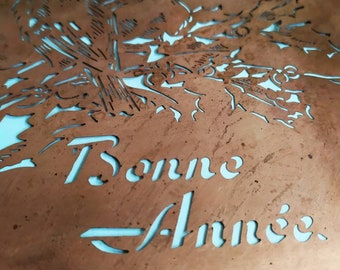 Rare French Vintage Copper Icing Sugar Stencil Happy New Year ,Cake Decorating / Craft Stenciling France, Gift Idea for Bakers. Bar Deco