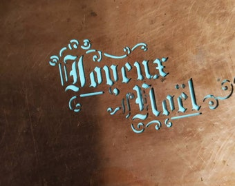 Rare French Vintage Copper Icing  Stencil  Happy Christmas, French Bakery Cake Decorating / Craft Stenciling France, Gift for Bakers