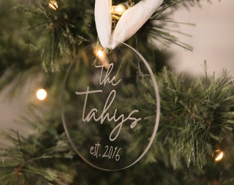 Name & EST. | Personalized Christmas Ornament | Acrylic | Engraved Ornament | Holiday Ornament
