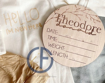 Name Birth Announcement  | Baby Photo Props  | Hospital Announcement | Milestone Disc | Nursery | Baby Shower Gift