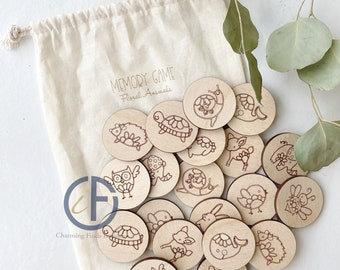 Wood Memory Game | Wooden Game | Party Favor | Busy Bag | Montessori | Stocking Stuffer | Bag Game